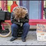 New York bench sobbing